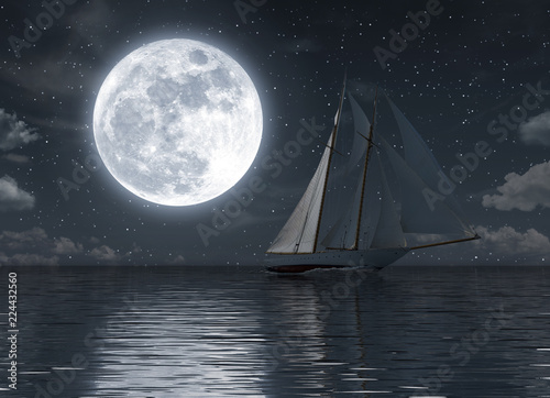 Fotografie, Obraz  Sailboat on the sea at night with full moon
