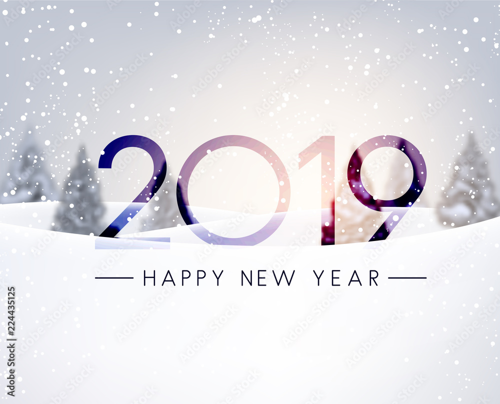 Fototapeta Blurred Happy New Year 2019 card with winter landscape.