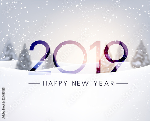 Fototapeta Blurred Happy New Year 2019 card with winter landscape. obraz