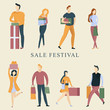 Autumn sale festival illustration showing happy people with packages and gifts
