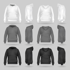 White, grey and black sweatshirt hoodie template in four dimensions: front, side and back view, realistic gradient mesh vector. Clothes for sport and urban style