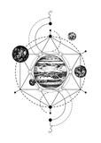 Sacred geometry background with Jupiter - 224436745