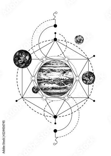 Photo sur Aluminium Style Boho Sacred geometry background with Jupiter