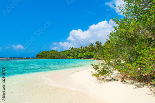 Photo Stands Turquoise Beautiful sandy beach in uninhabited island