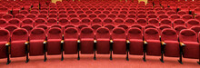 Panorama Of Empty Cinema Or Concert Hall, Theatre Interior With Red Seats