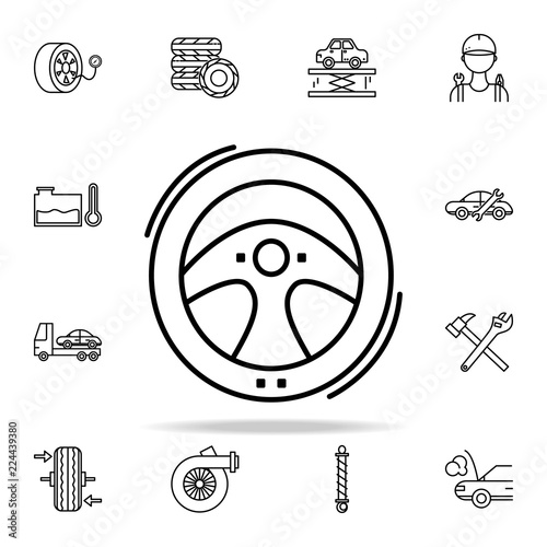 Car Helm Icon Cars Service And Repair Parts Icons Universal Set For