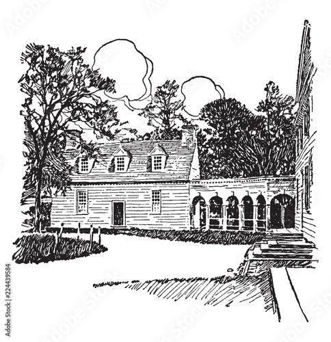 Mount Vernon vintage illustration. Tapéta, Fotótapéta