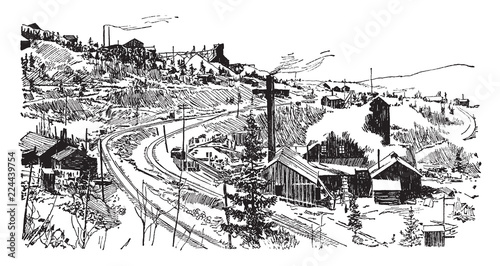 Tela Cripple Creek Mine, vintage illustration.