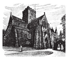 Carlisle Cathedral Vintage Illustration.