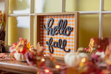 Hello Fall Sign On The Mantel At Home
