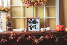 Fall Decorations On The Firepl...