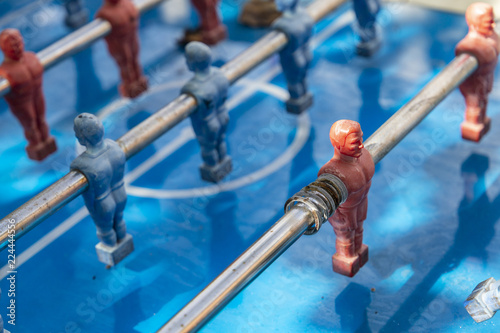 Close-up of an old table football