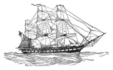 United States Frigate Of 1812, Vintage Illustration.