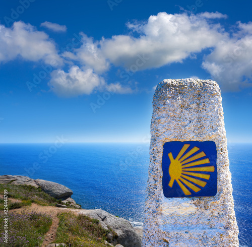 Fotografering End of Saint James Way sign of Finisterre in Galicia