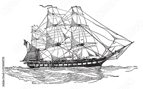 Cuadros en Lienzo United States Frigate of 1812, vintage illustration.