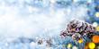 Leinwanddruck Bild Christmas Decoration - Snowy Pine Cones On Spruce Branch With Lights