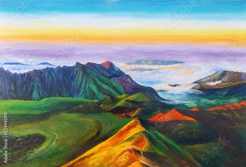 Printed kitchen splashbacks Purple A beautiful mountain landscape with mountain ranges and clouds covering the plain. Oil Painting.
