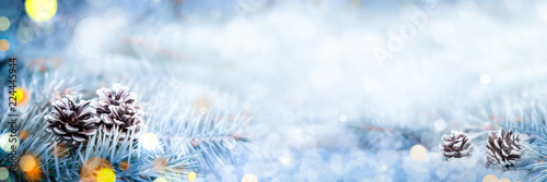 Fotografie, Obraz  Christmas Decoration Banner - Snowy Pine Cones On Spruce Branch With Lights
