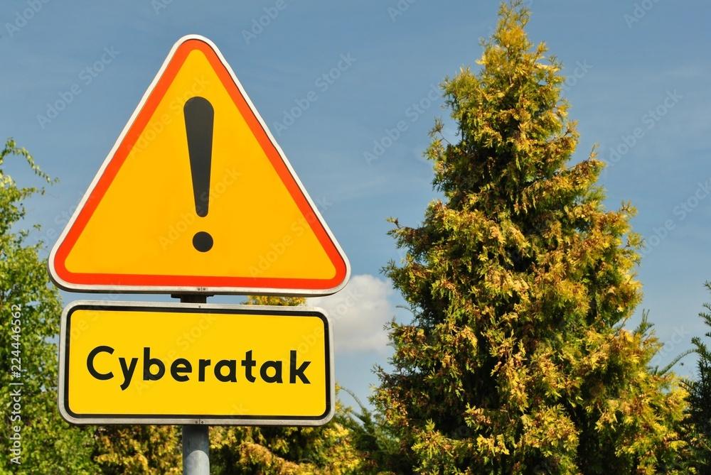 Fototapeta Uwaga, cyberatak