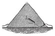 Great Pyramid Section, Pyramid of Cheops, vintage engraving.