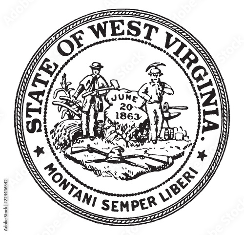 The Seal of the State of West Virginia, vintage illustration Canvas-taulu