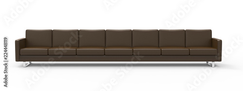 Stampa su Tela Extremely long brown leather sofa isolated on white background