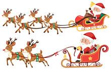 Santa Riding Sleigh On White Background