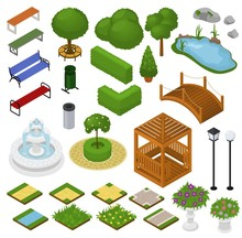 Park Vector Parkland With Gree...