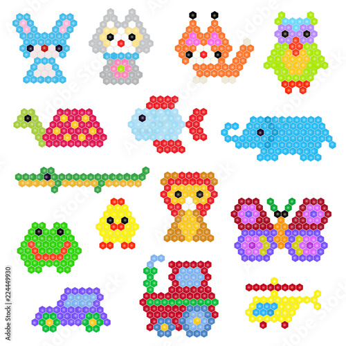 Mosaic animal vector animalistic abstract character cat and car in kids game illustration childish set of toys owl or butterfly isolated on white background