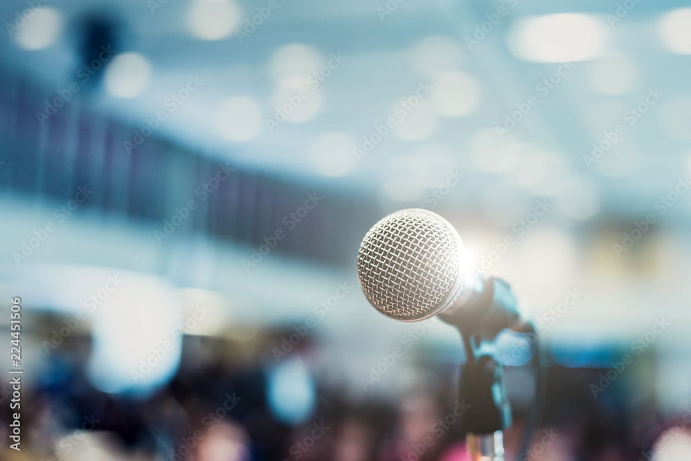 Fototapeta Microphone in concert hall or conference room