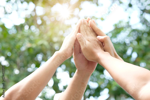 Hand of people assemble corporate Meeting Teamwork and harmonious Symbol Canvas-taulu