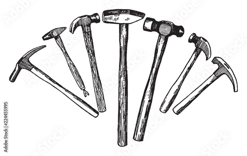 Obraz na plátně Types of Hammers, vintage illustration.