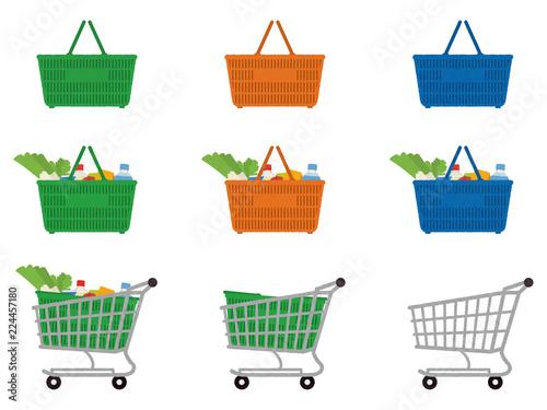 Cuadros en Lienzo 買い物カゴとショッピングカート