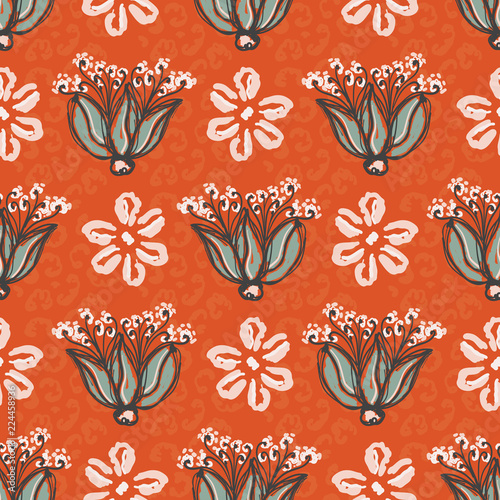 1950s Style Floral Daisy Vector Pattern Hand Drawn Seamless