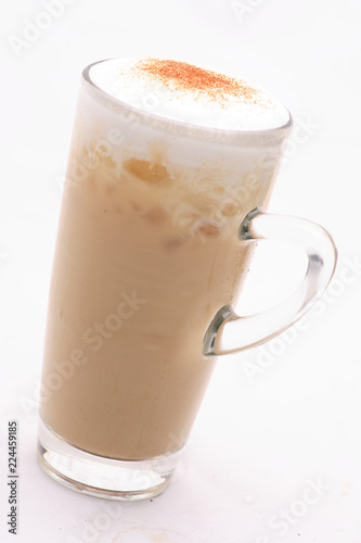 Wall Murals Chocolate Cappuccino Cold Coffee In a glass on a white floor in the studio.