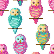 Seamless Vector Owl Pattern