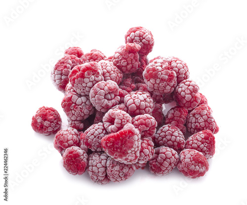 Obraz frozen raspberries isolated on white - fototapety do salonu