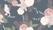 Floral Seamless Pattern, Rose, Lily, Lavender With Leaves On Matted Blue Background