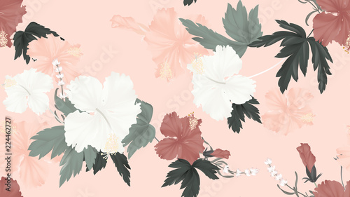 Fototapeten Künstlich Floral seamless pattern, colorful hibiscus, lavender flowers with leaves on light orange background