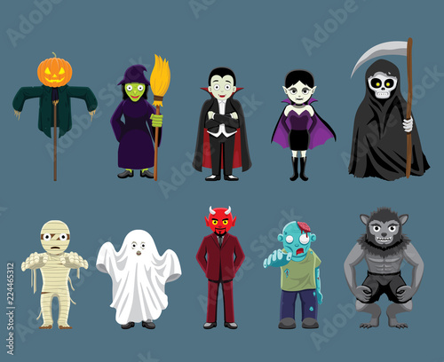 Fotografía Halloween Characters Cartoon Vector Illustration