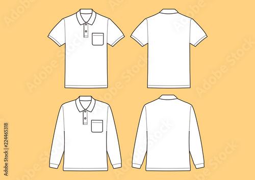 Fotomural  ポロシャツ半袖、長袖 テンプレート、ベクター