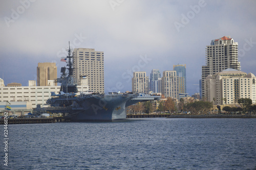 Stampa su Tela San Diego California Skyline Battle Ship