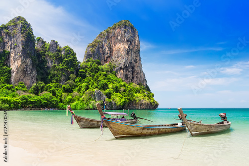 Poster Asia land Thai traditional wooden longtail boat