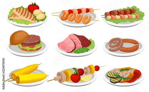 Fototapeta Grilled food set, delicious dishes for barbecue party menu, meat and vegetarian food vector Illustration on a white background obraz