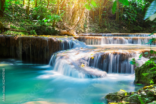 Foto auf Gartenposter Wasserfalle Waterfall in deep rain forest jungle
