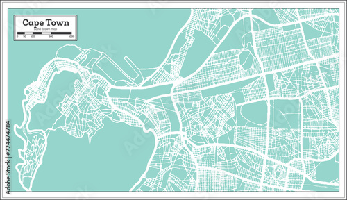 Canvas Print Cape Town South Africa City Map in Retro Style. Outline Map.
