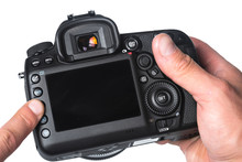 Photo Camera In Hand Isolated ...