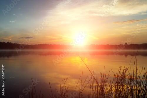 Fotobehang Pier Beautiful, pink violet dawn over the lake. Fog over the lake, the rays of the sun, very dense fog, dawn, the blue sky over the lake, the morning comes, the forest reflects in the water.