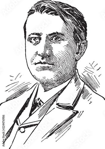 Fotografie, Obraz  Thomas Alva Edison, vintage illustration