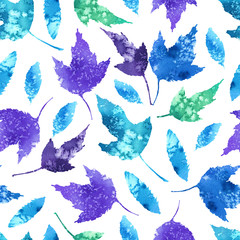FototapetaWatercolor pattern with bright autumn leaves.
